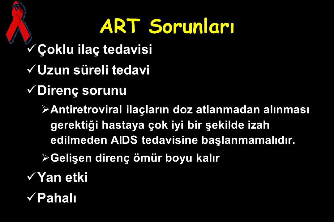 ART Sorunları Çoklu ilaç tedavisi Uzun süreli tedavi Direnç sorunu