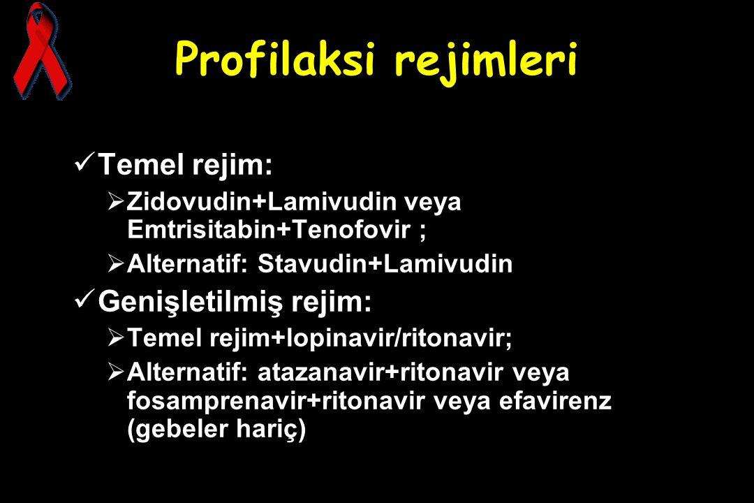 Profilaksi rejimleri Temel rejim: Genişletilmiş rejim: