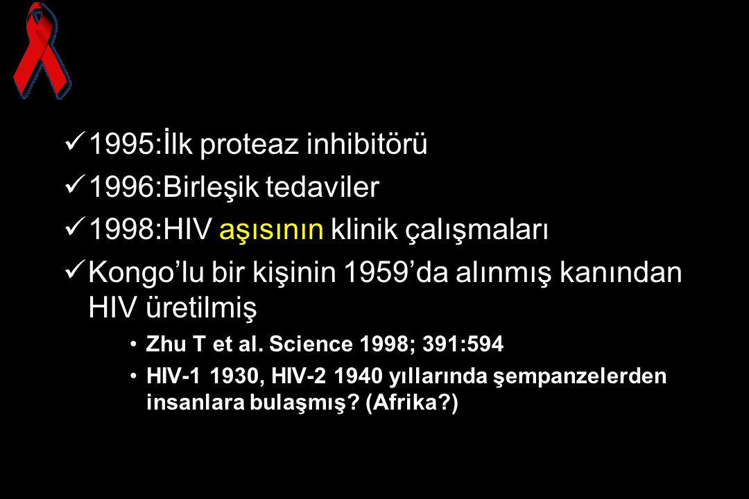 1995:İlk proteaz inhibitörü 1996:Birleşik tedaviler
