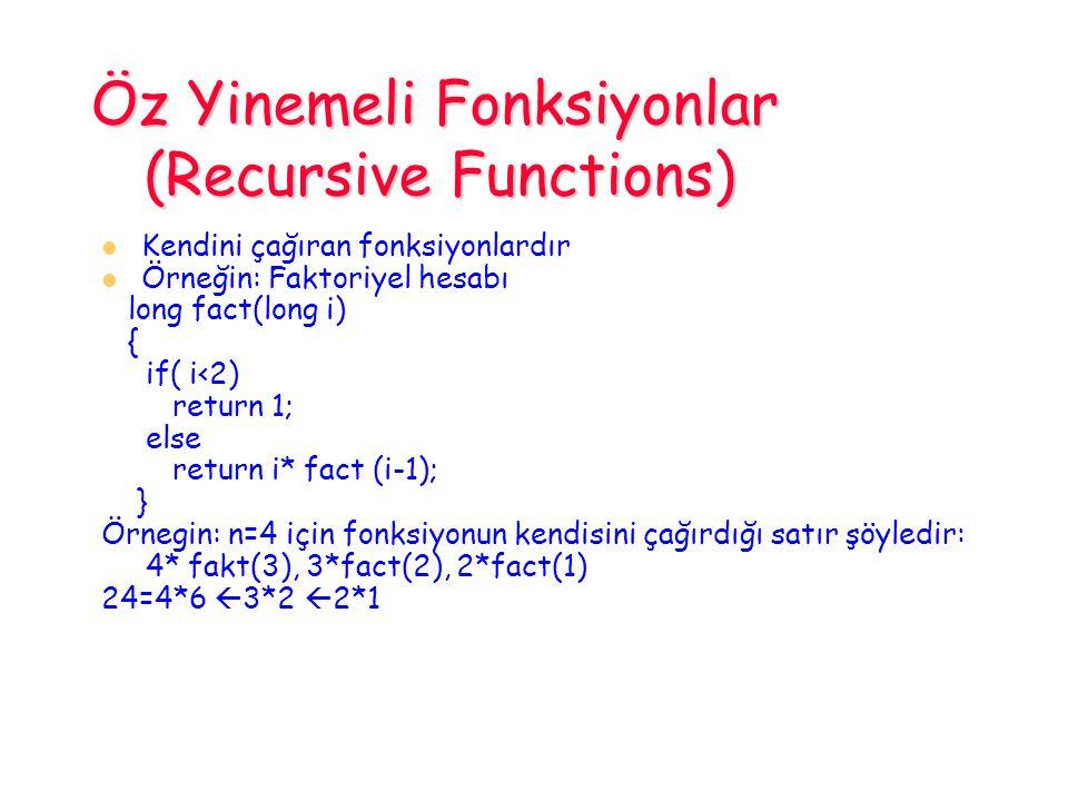 Öz Yinemeli Fonksiyonlar (Recursive Functions)