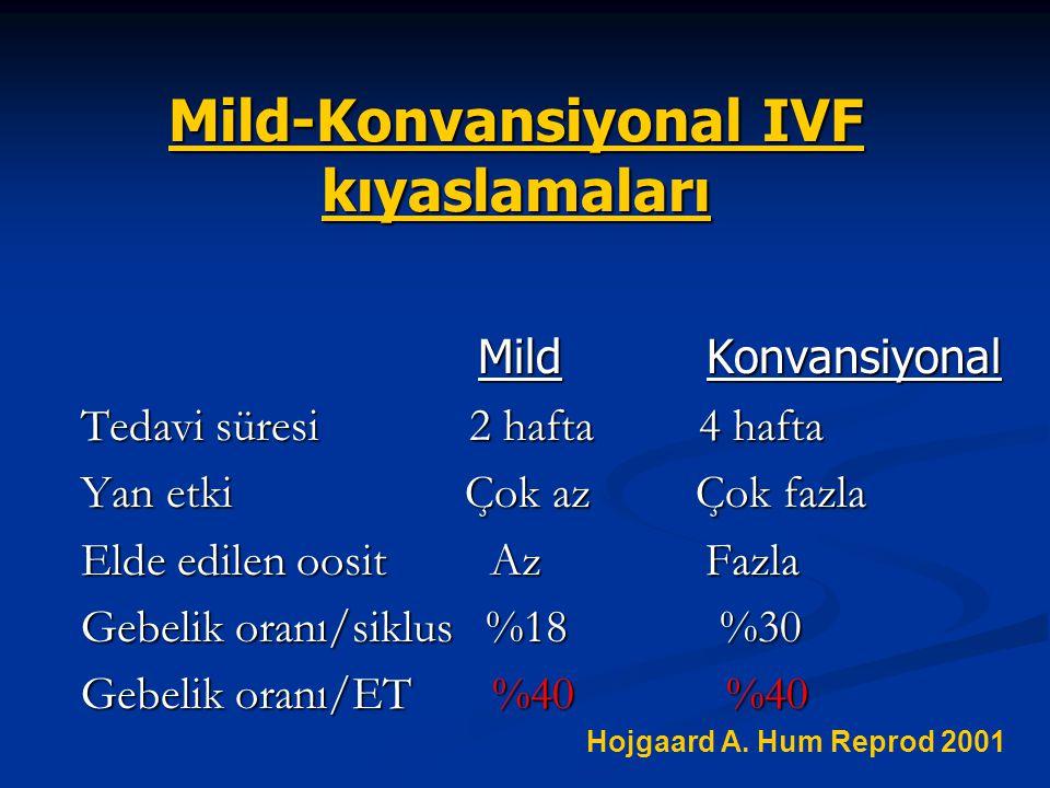 Mild-Konvansiyonal IVF kıyaslamaları