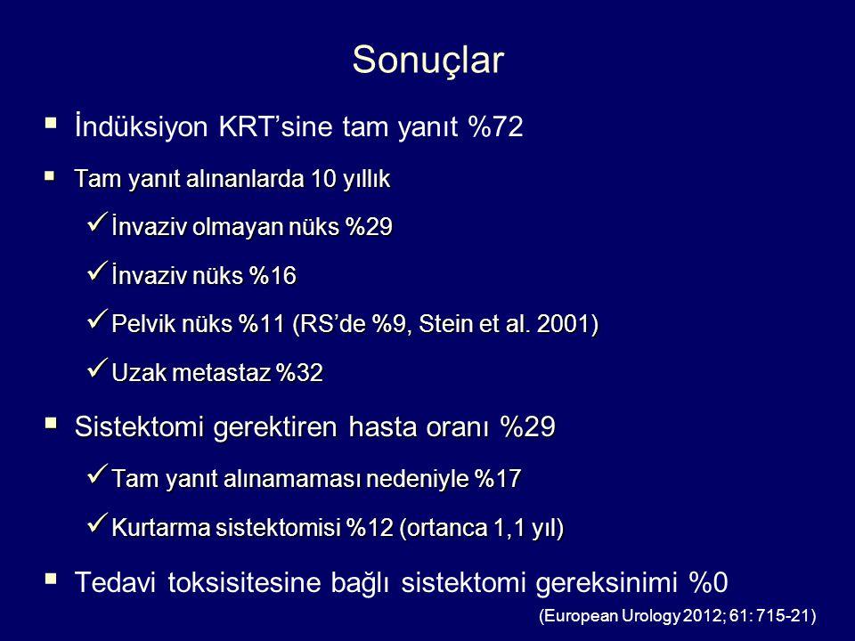 Sonuçlar İndüksiyon KRT'sine tam yanıt %72