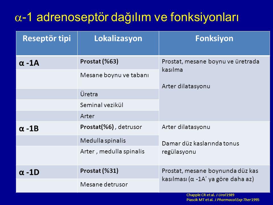 -1 adrenoseptör dağılım ve fonksiyonları