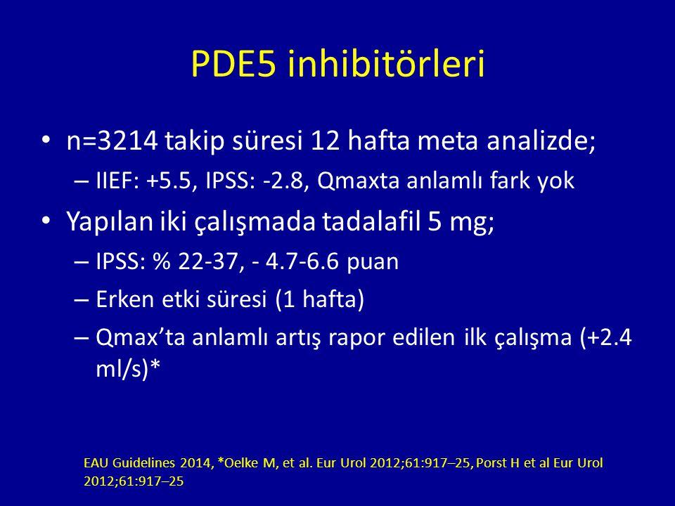 PDE5 inhibitörleri n=3214 takip süresi 12 hafta meta analizde;