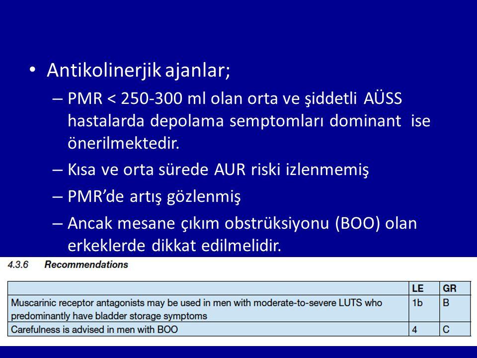 Antikolinerjik ajanlar;