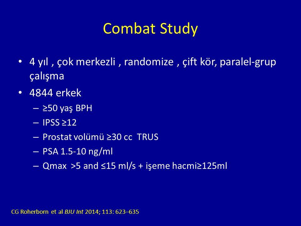 Combat Study 4 yıl , çok merkezli , randomize , çift kör, paralel-grup çalışma. 4844 erkek. ≥50 yaş BPH.