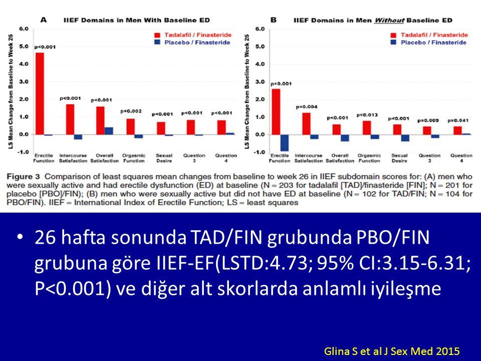26 hafta sonunda TAD/FIN grubunda PBO/FIN grubuna göre IIEF-EF(LSTD:4