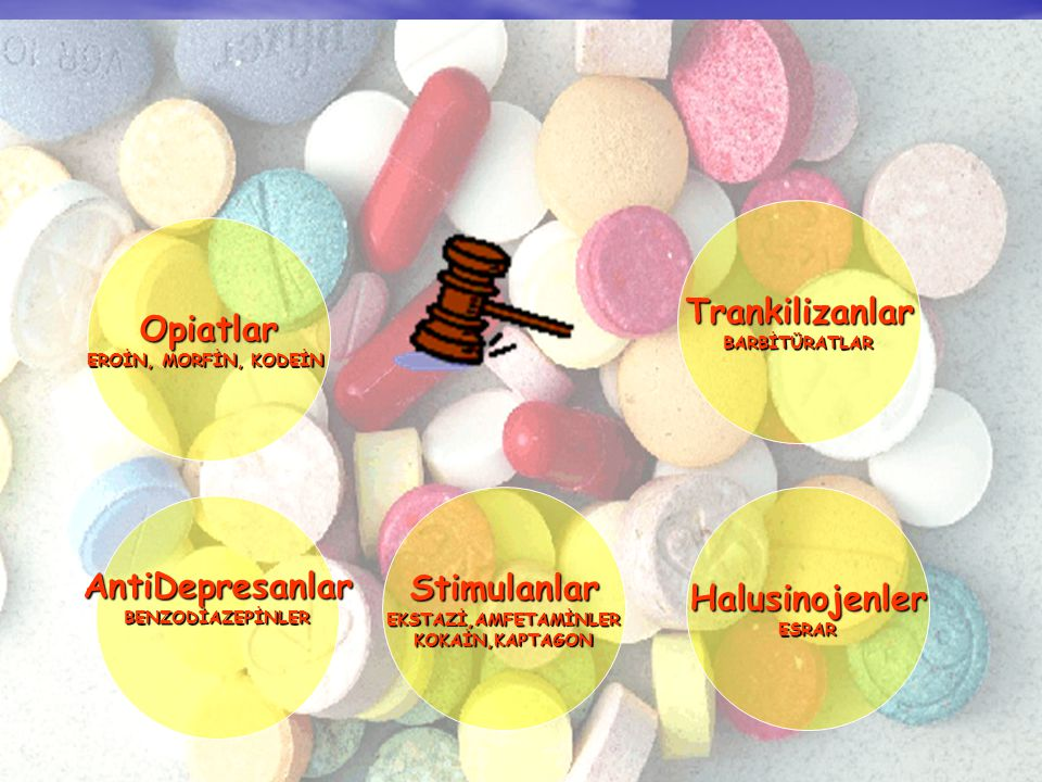 Trankilizanlar Opiatlar Stimulanlar Halusinojenler AntiDepresanlar