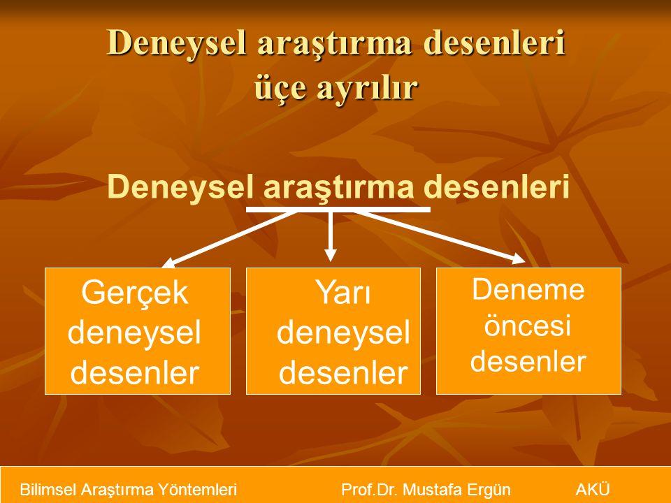 Deneysel araştırma desenleri üçe ayrılır