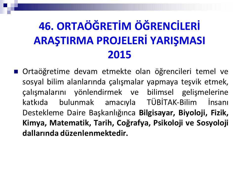46. ORTAÖĞRETİM ÖĞRENCİLERİ ARAŞTIRMA PROJELERİ YARIŞMASI 2015
