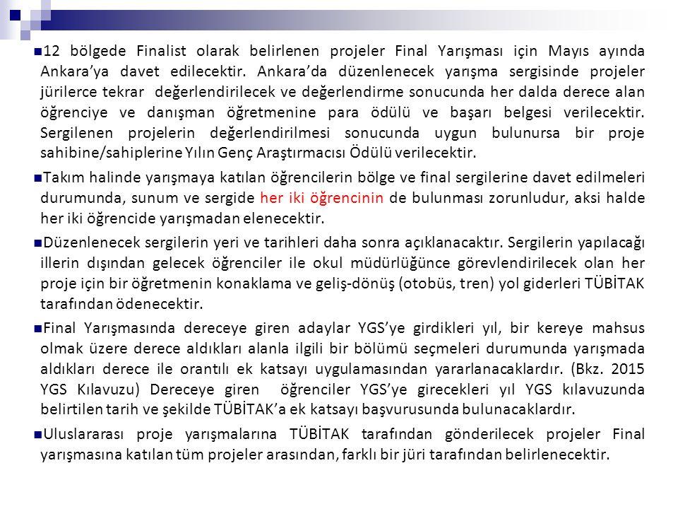 12 bölgede Finalist olarak belirlenen projeler Final Yarışması için Mayıs ayında Ankara'ya davet edilecektir. Ankara'da düzenlenecek yarışma sergisinde projeler jürilerce tekrar değerlendirilecek ve değerlendirme sonucunda her dalda derece alan öğrenciye ve danışman öğretmenine para ödülü ve başarı belgesi verilecektir. Sergilenen projelerin değerlendirilmesi sonucunda uygun bulunursa bir proje sahibine/sahiplerine Yılın Genç Araştırmacısı Ödülü verilecektir.