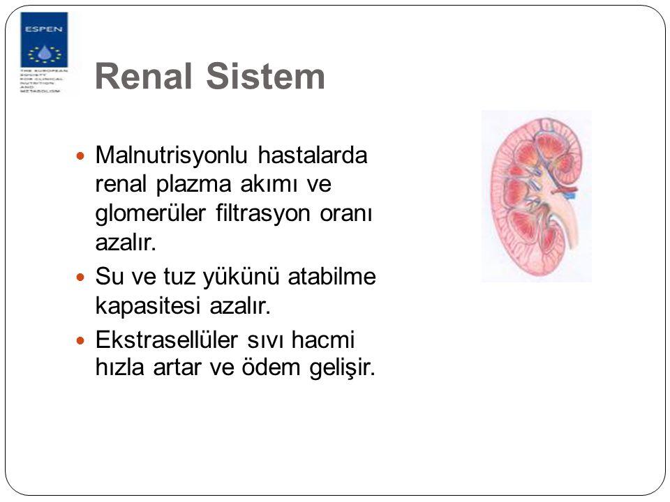Renal Sistem Malnutrisyonlu hastalarda renal plazma akımı ve glomerüler filtrasyon oranı azalır.