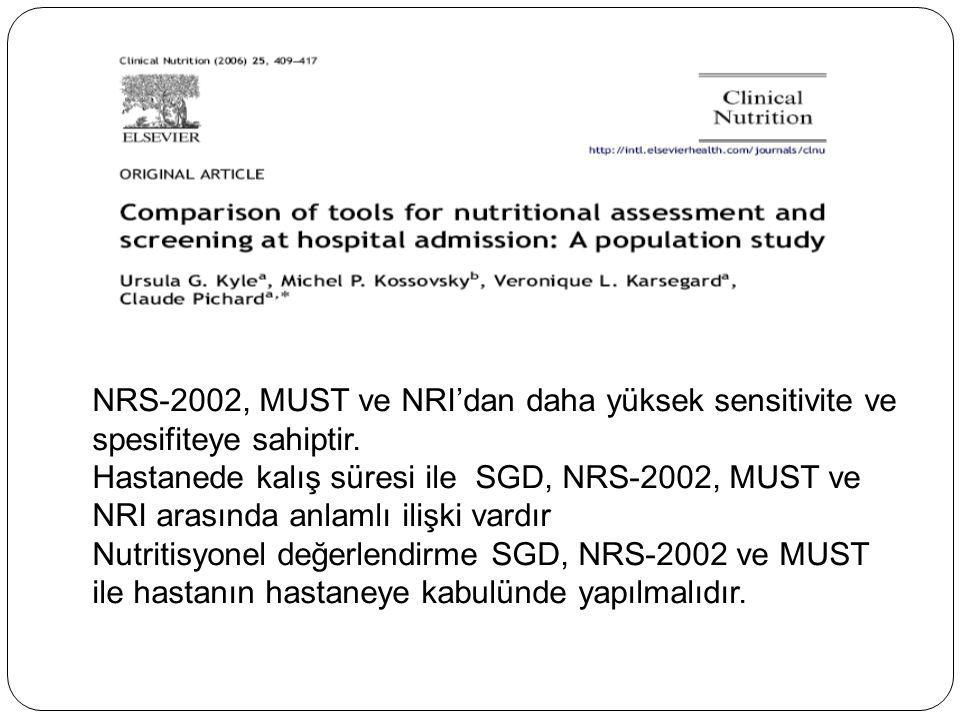 NRS-2002, MUST ve NRI'dan daha yüksek sensitivite ve spesifiteye sahiptir.