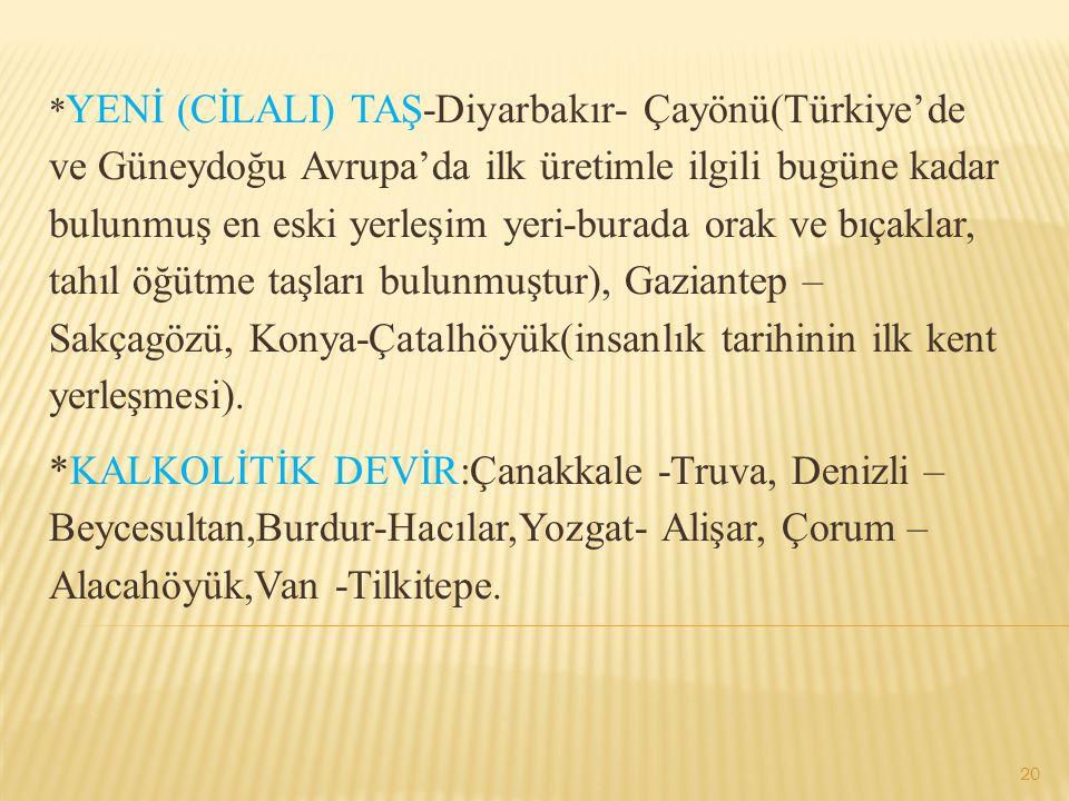 *YENİ (CİLALI) TAŞ-Diyarbakır- Çayönü(Türkiye'de ve Güneydoğu Avrupa'da ilk üretimle ilgili bugüne kadar bulunmuş en eski yerleşim yeri-burada orak ve bıçaklar, tahıl öğütme taşları bulunmuştur), Gaziantep – Sakçagözü, Konya-Çatalhöyük(insanlık tarihinin ilk kent yerleşmesi).