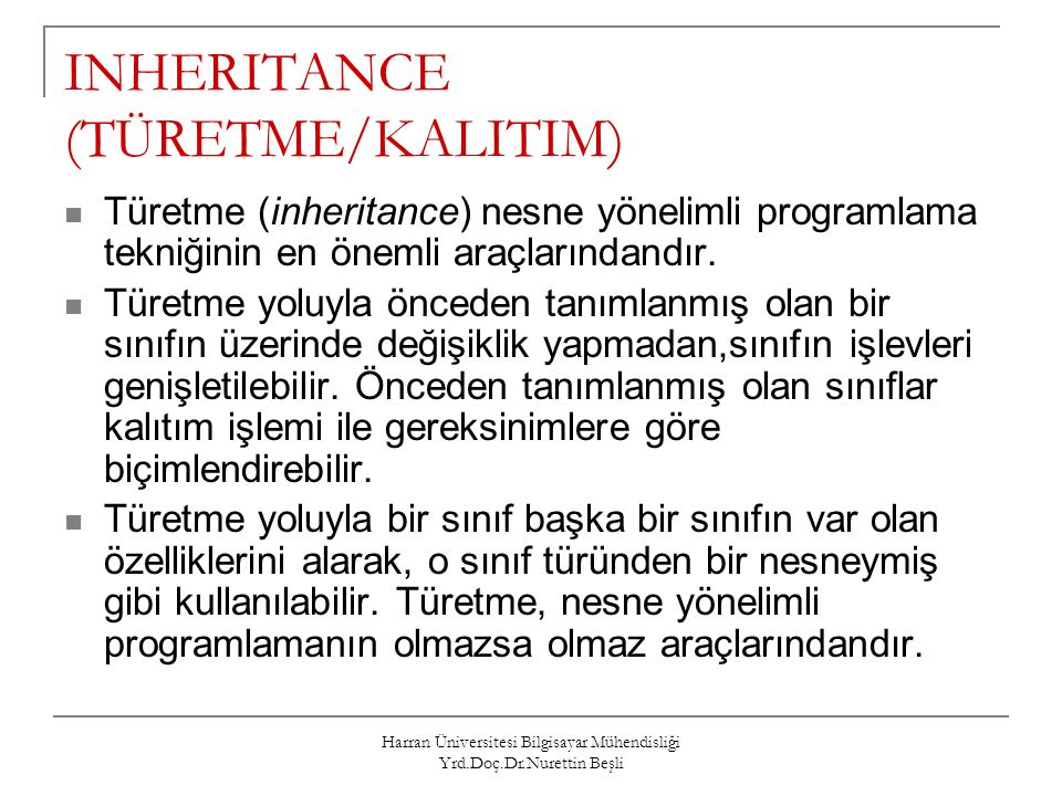 INHERITANCE (TÜRETME/KALITIM)