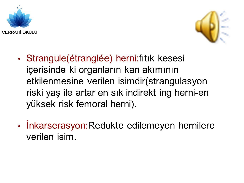 Strangule(étranglée) herni:fıtık kesesi içerisinde ki organların kan akımının etkilenmesine verilen isimdir(strangulasyon riski yaş ile artar en sık indirekt ing herni-en yüksek risk femoral herni).