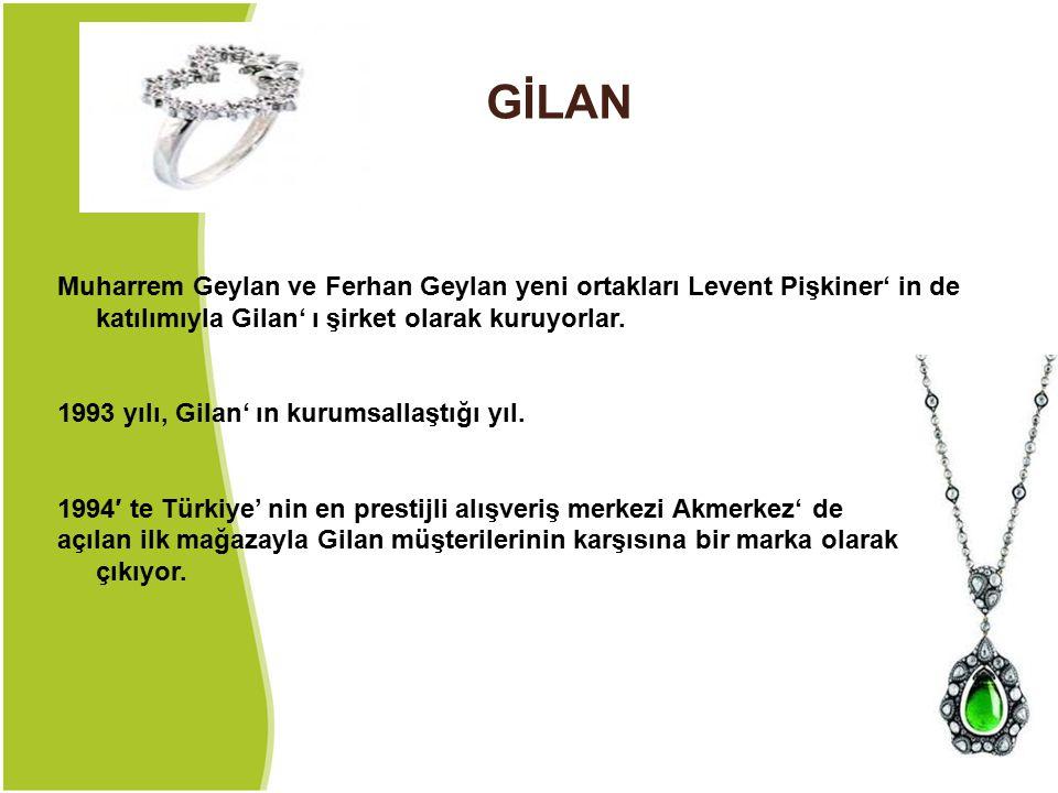 GİLAN Muharrem Geylan ve Ferhan Geylan yeni ortakları Levent Pişkiner' in de katılımıyla Gilan' ı şirket olarak kuruyorlar.