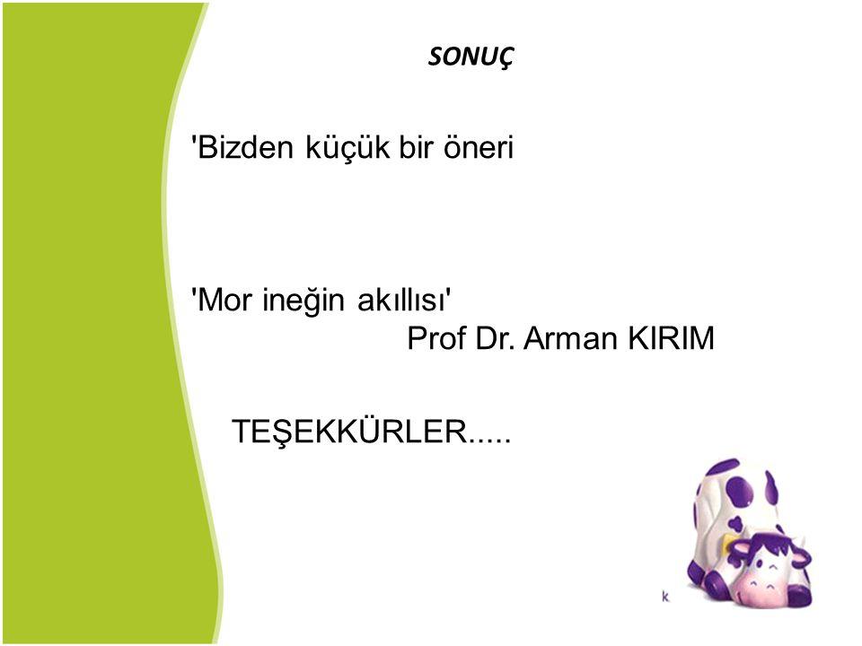 Bizden küçük bir öneri Mor ineğin akıllısı Prof Dr. Arman KIRIM