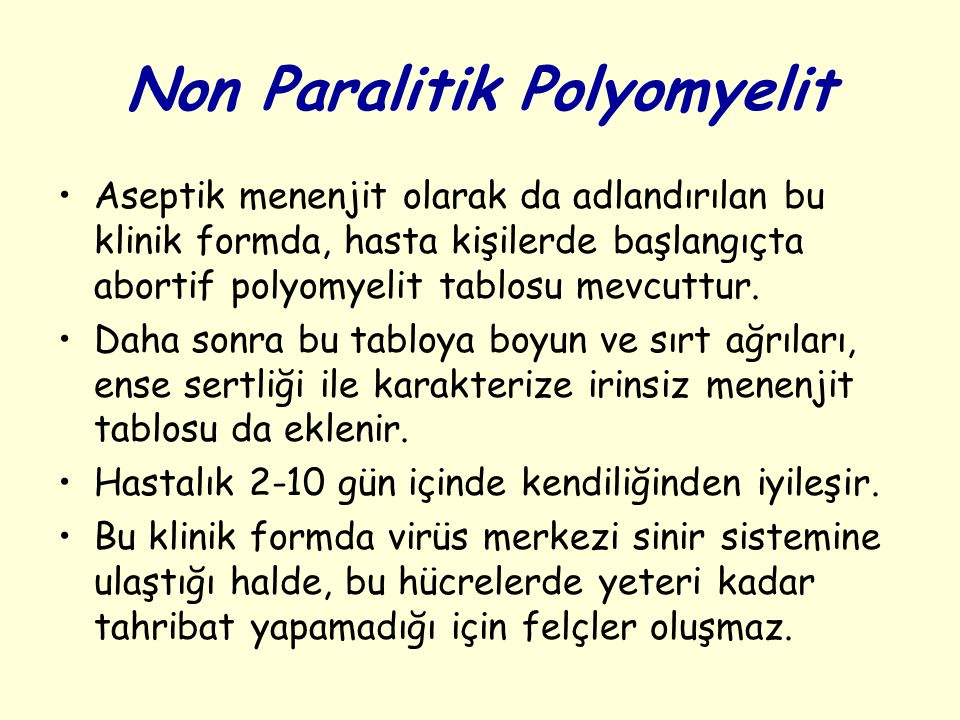 Non Paralitik Polyomyelit