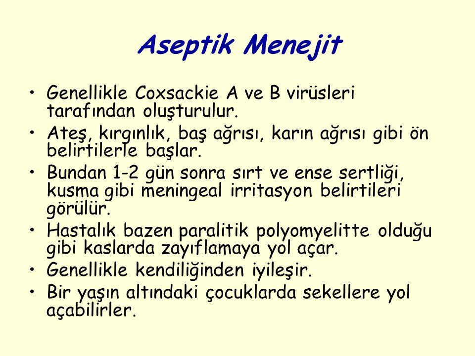 Aseptik Menejit Genellikle Coxsackie A ve B virüsleri tarafından oluşturulur. Ateş, kırgınlık, baş ağrısı, karın ağrısı gibi ön belirtilerle başlar.