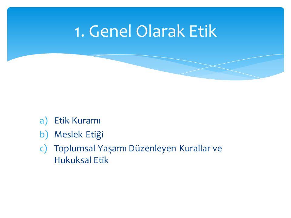 1. Genel Olarak Etik Etik Kuramı Meslek Etiği