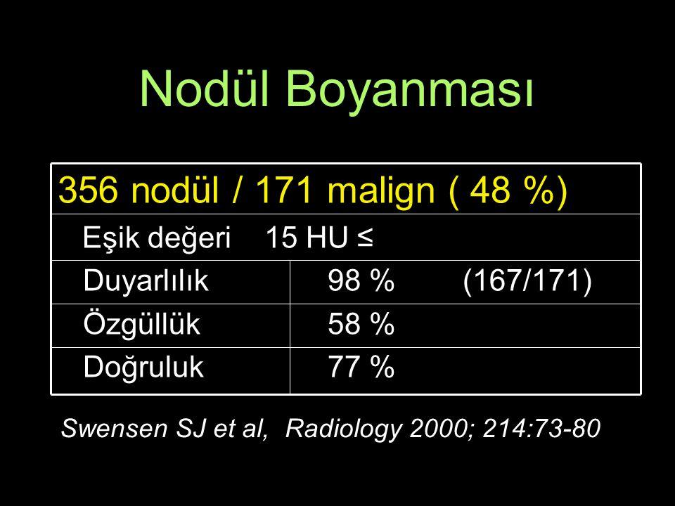 Nodül Boyanması 356 nodül / 171 malign ( 48 %) Eşik değeri 15 HU ≤