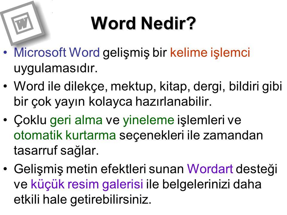 Word Nedir Microsoft Word gelişmiş bir kelime işlemci uygulamasıdır.