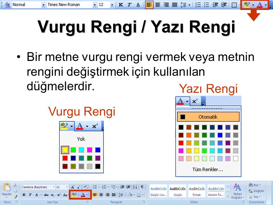 Vurgu Rengi / Yazı Rengi