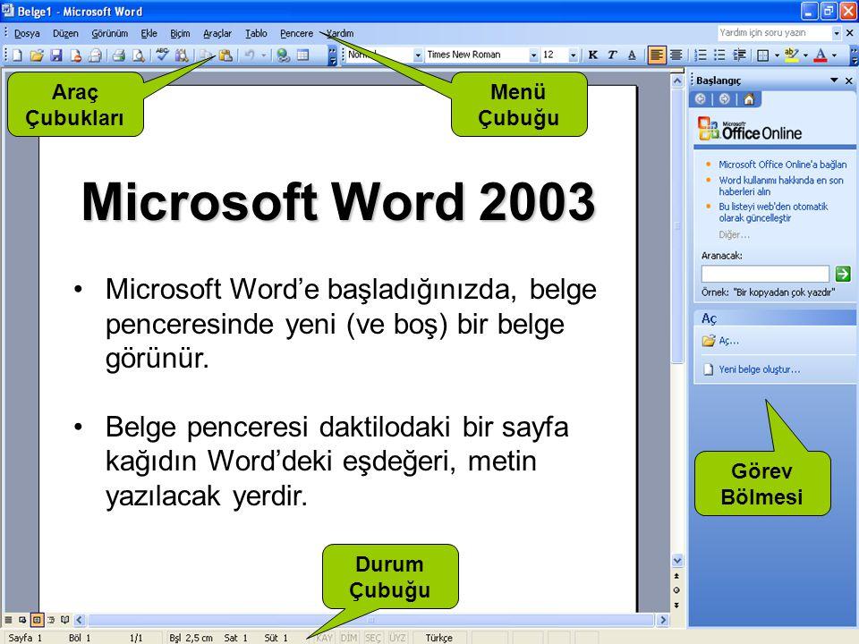 Araç Çubukları. Menü. Çubuğu. Microsoft Word 2003. Microsoft Word'e başladığınızda, belge penceresinde yeni (ve boş) bir belge görünür.
