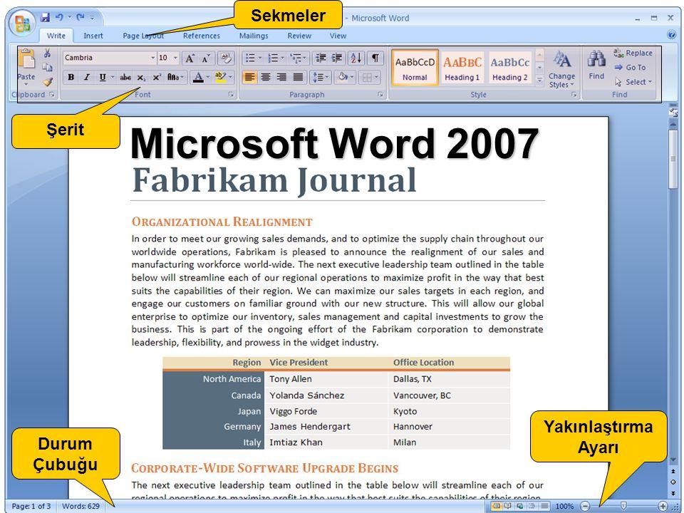 Sekmeler Şerit Microsoft Word 2007 Yakınlaştırma Ayarı Durum Çubuğu