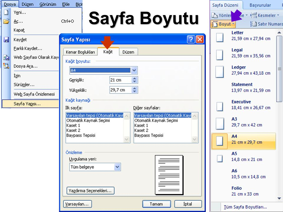Sayfa Boyutu