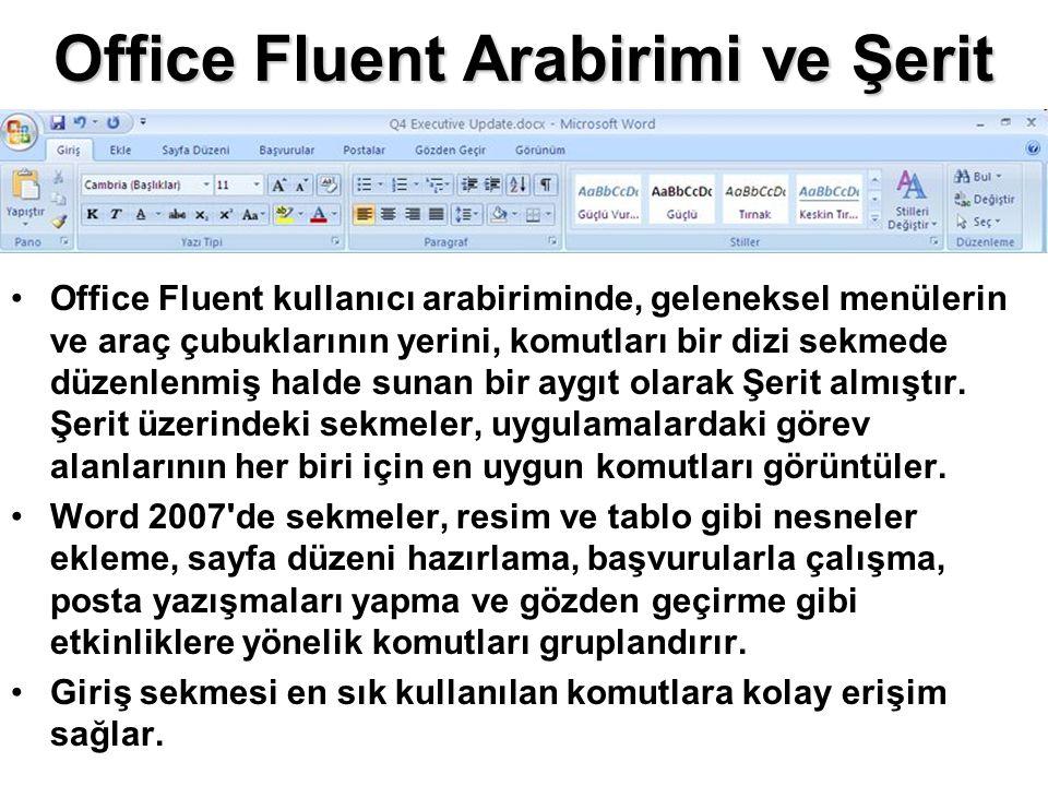 Office Fluent Arabirimi ve Şerit