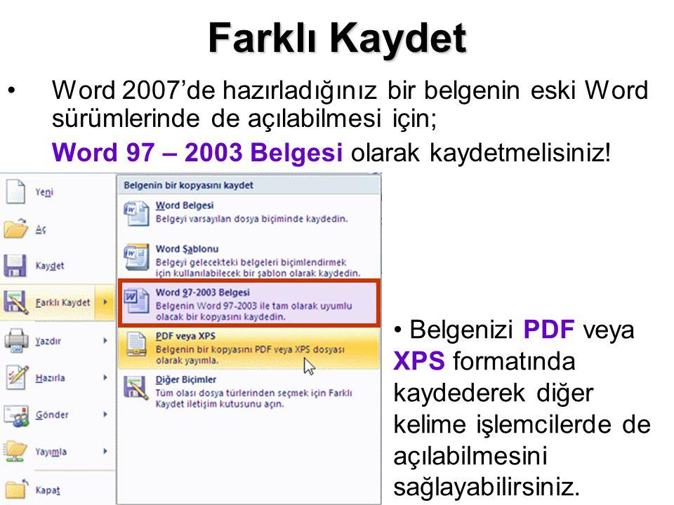 Farklı Kaydet Word 2007'de hazırladığınız bir belgenin eski Word sürümlerinde de açılabilmesi için;