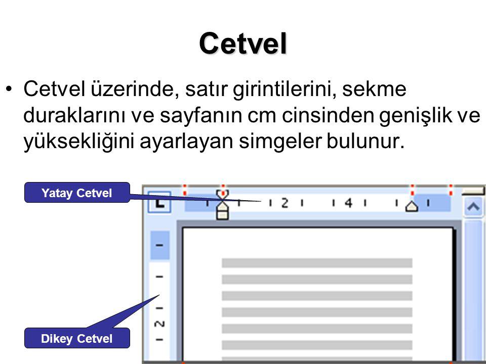 Cetvel Cetvel üzerinde, satır girintilerini, sekme duraklarını ve sayfanın cm cinsinden genişlik ve yüksekliğini ayarlayan simgeler bulunur.