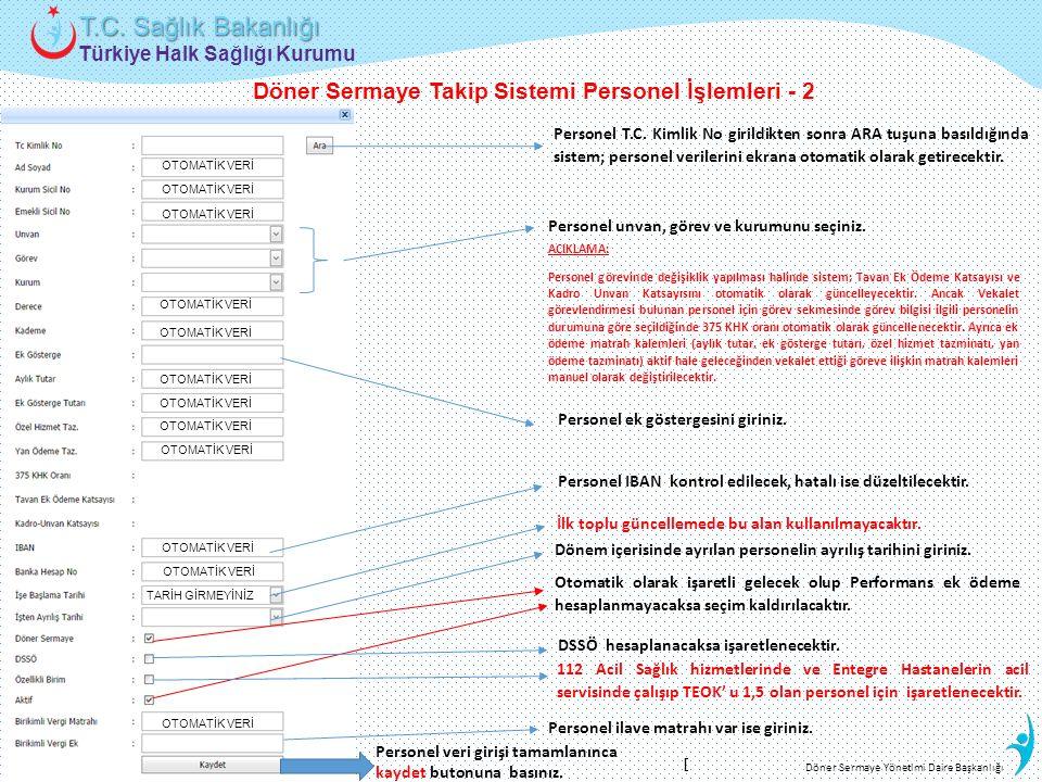 Döner Sermaye Takip Sistemi Personel İşlemleri - 2