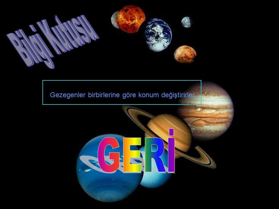 Bilgi Kutusu Gezegenler birbirlerine göre konum değiştirirler. GERİ