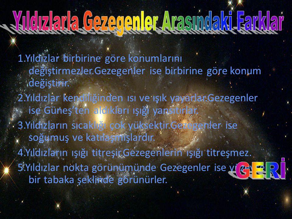 Yıldızlarla Gezegenler Arasındaki Farklar