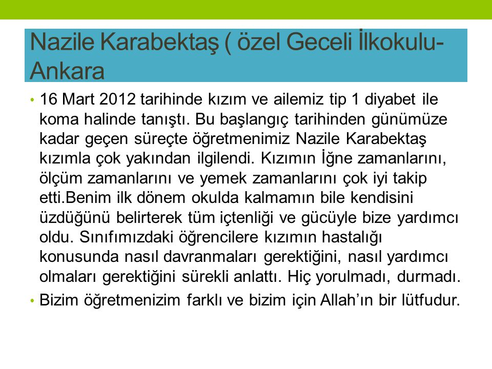 Nazile Karabektaş ( özel Geceli İlkokulu-Ankara