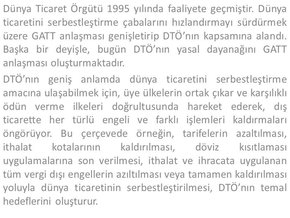 Dünya Ticaret Örgütü 1995 yılında faaliyete geçmiştir