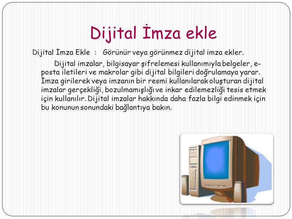 Dijital İmza ekle