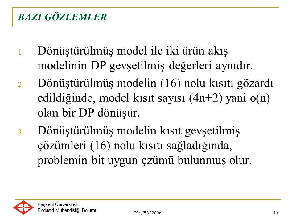 BAZI GÖZLEMLER Dönüştürülmüş model ile iki ürün akış modelinin DP gevşetilmiş değerleri aynıdır.