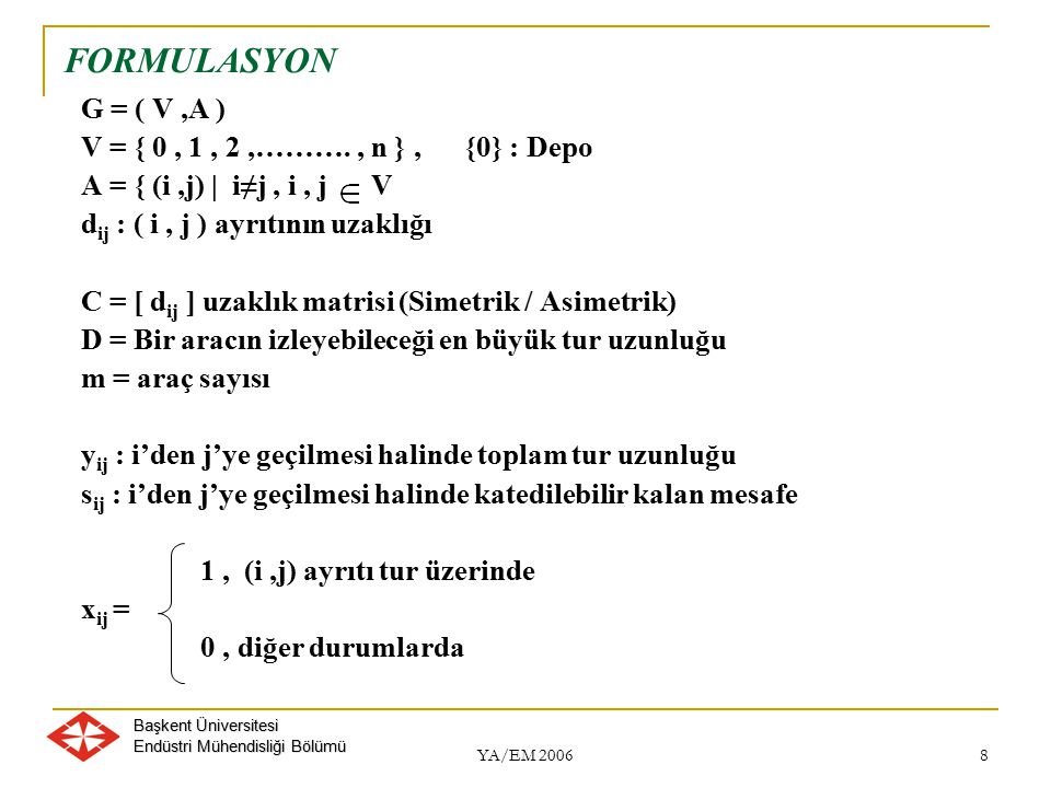 FORMULASYON G = ( V ,A ) V = { 0 , 1 , 2 ,………. , n } , {0} : Depo