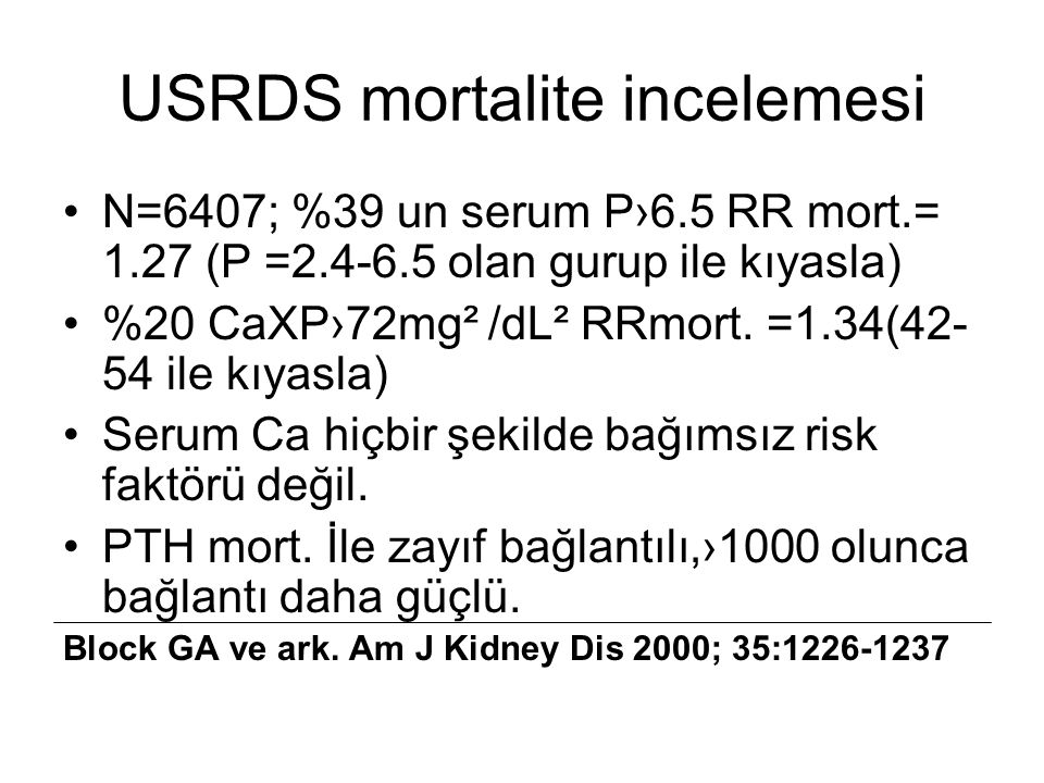 USRDS mortalite incelemesi