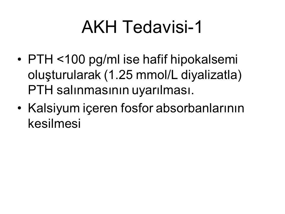 AKH Tedavisi-1 PTH <100 pg/ml ise hafif hipokalsemi oluşturularak (1.25 mmol/L diyalizatla) PTH salınmasının uyarılması.
