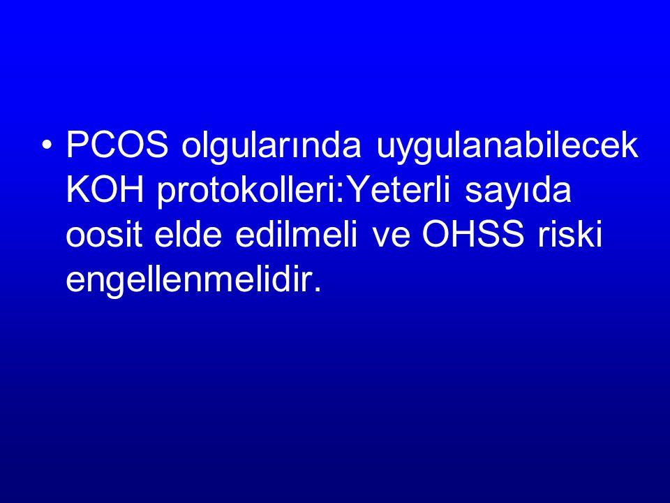 PCOS olgularında uygulanabilecek KOH protokolleri:Yeterli sayıda oosit elde edilmeli ve OHSS riski engellenmelidir.