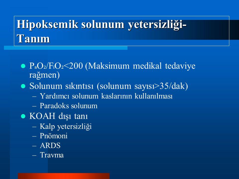 Hipoksemik solunum yetersizliği- Tanım