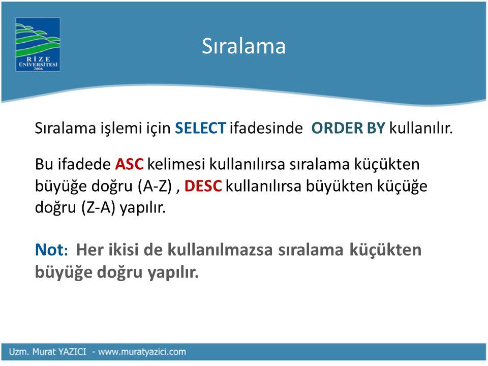 Sıralama Sıralama işlemi için SELECT ifadesinde ORDER BY kullanılır.