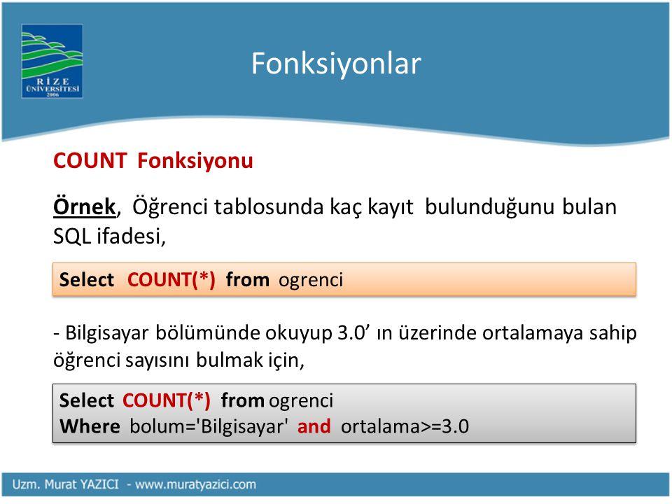 Fonksiyonlar COUNT Fonksiyonu. Örnek, Öğrenci tablosunda kaç kayıt bulunduğunu bulan SQL ifadesi,