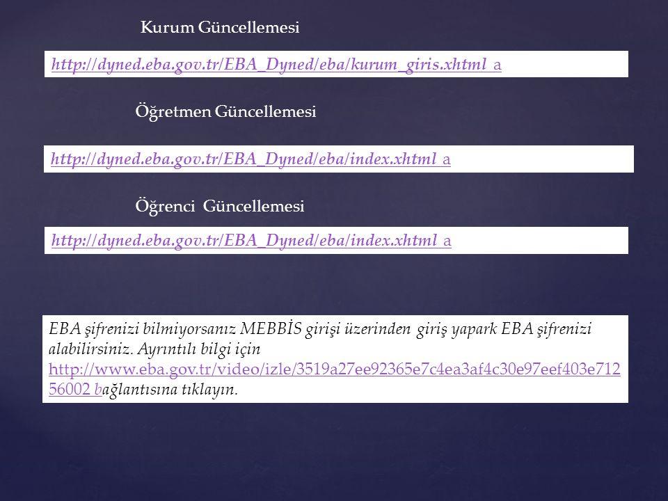 Kurum Güncellemesi http://dyned.eba.gov.tr/EBA_Dyned/eba/kurum_giris.xhtml a. Öğretmen Güncellemesi.
