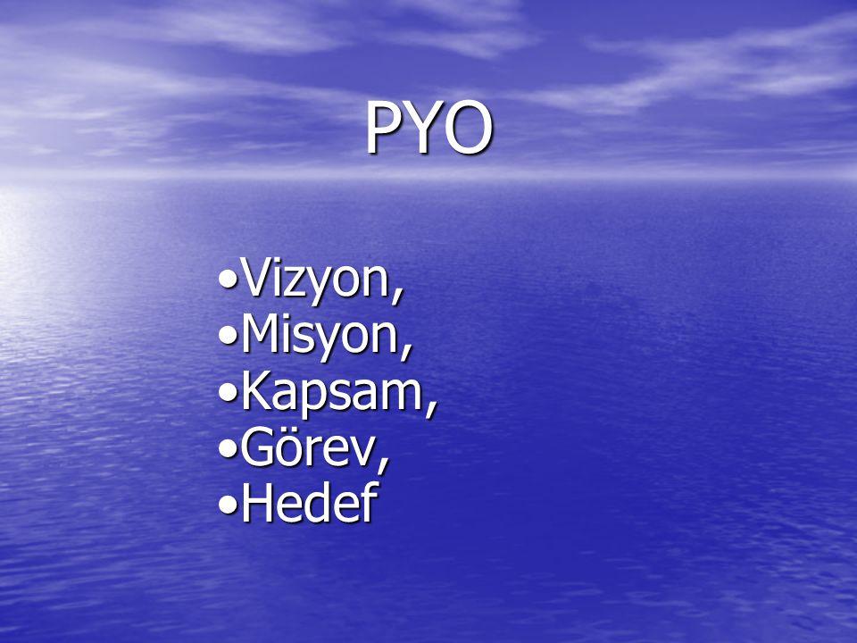 PYO Vizyon, Misyon, Kapsam, Görev, Hedef